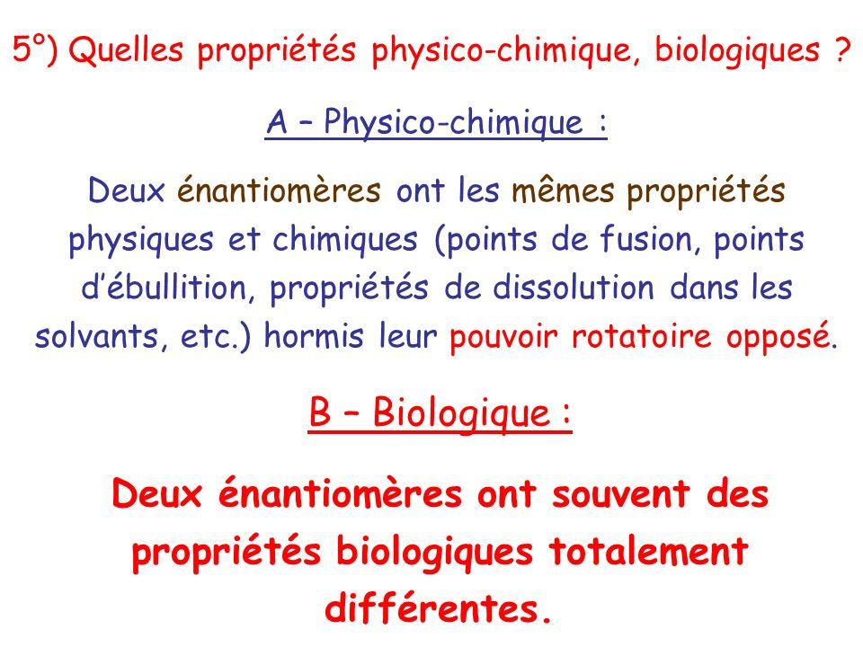 A – Physico-chimique : Deux énantiomères ont les mêmes propriétés physiques et chimiques (points de fusion, points débullition, propriétés de dissolut