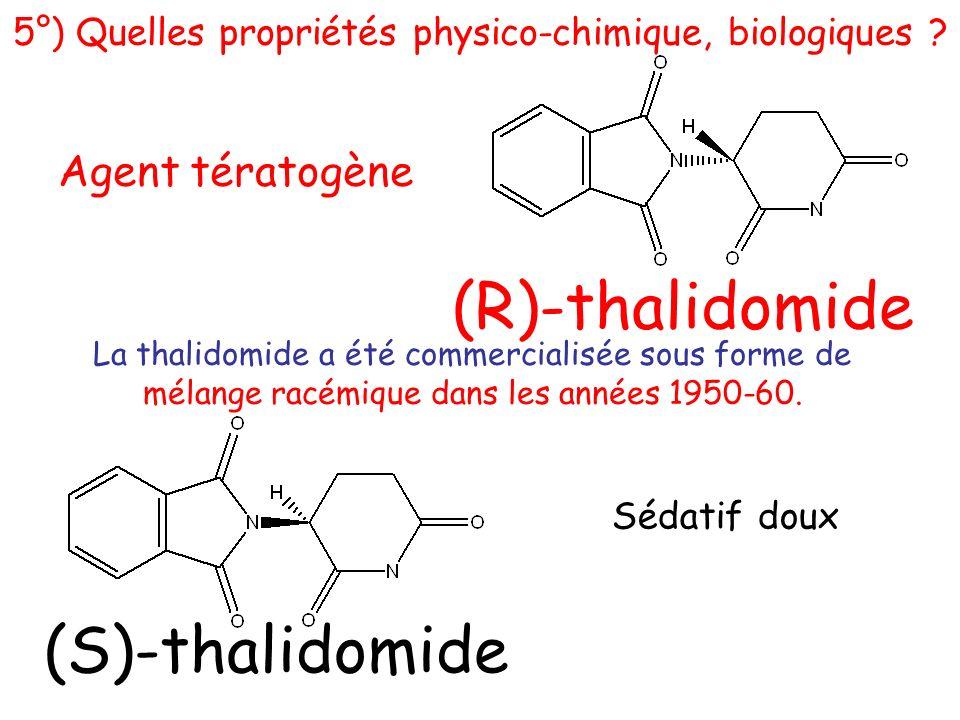 (S)-thalidomide Sédatif doux (R)-thalidomide Agent tératogène La thalidomide a été commercialisée sous forme de mélange racémique dans les années 1950