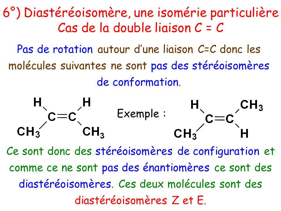 Exemple : Pas de rotation autour dune liaison C=C donc les molécules suivantes ne sont pas des stéréoisomères de conformation. Ce sont donc des stéréo