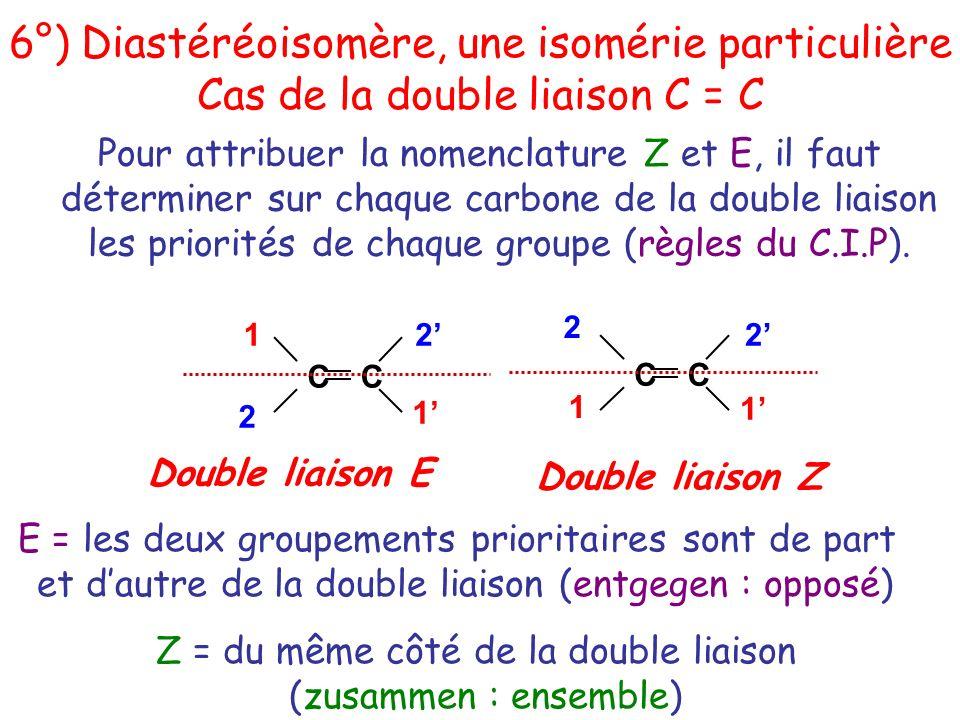 Pour attribuer la nomenclature Z et E, il faut déterminer sur chaque carbone de la double liaison les priorités de chaque groupe (règles du C.I.P). E