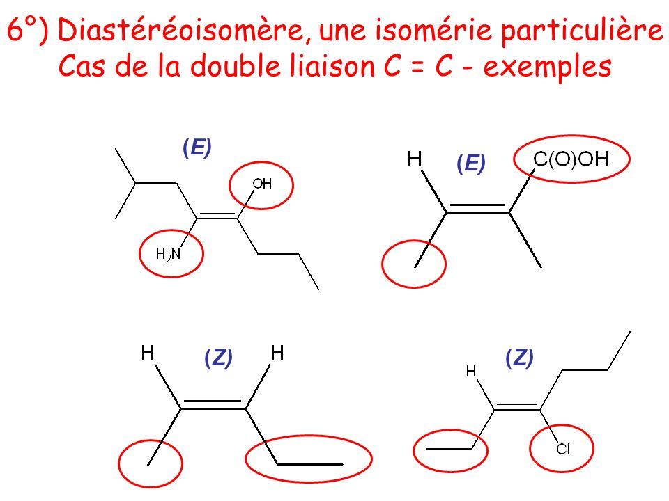 (Z) (E) (Z) 6°) Diastéréoisomère, une isomérie particulière Cas de la double liaison C = C - exemples