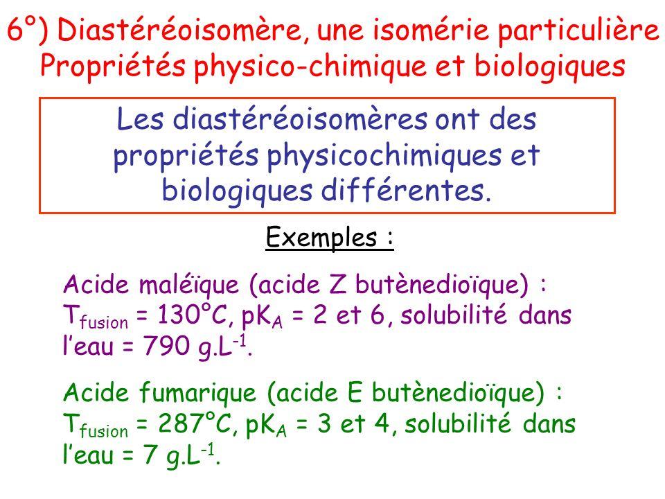Les diastéréoisomères ont des propriétés physicochimiques et biologiques différentes. Exemples : Acide maléïque (acide Z butènedioïque) : T fusion = 1