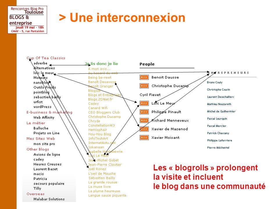 Les « blogrolls » prolongent la visite et incluent le blog dans une communauté > Une interconnexion