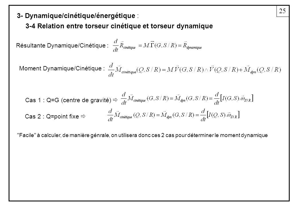 3- Dynamique/cinétique/énergétique : Résultante Dynamique/Cinétique : 3-4 Relation entre torseur cinétique et torseur dynamique Cas 1 : Q=G (centre de gravité) Cas 2 : Q=point fixe Moment Dynamique/Cinétique : 25 Facile à calculer, de manière génrale, on utilisera donc ces 2 cas pour déterminer le moment dynamique