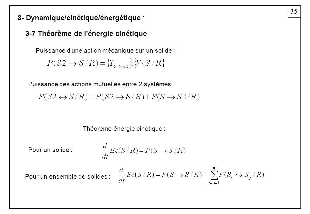 3- Dynamique/cinétique/énergétique : 35 3-7 Théorème de l'énergie cinétique Puissance d'une action mécanique sur un solide : Puissance des actions mut