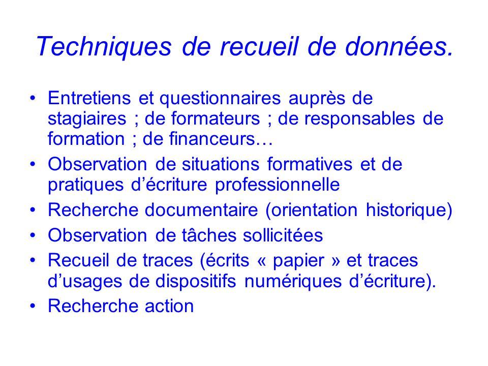 Techniques de recueil de données.