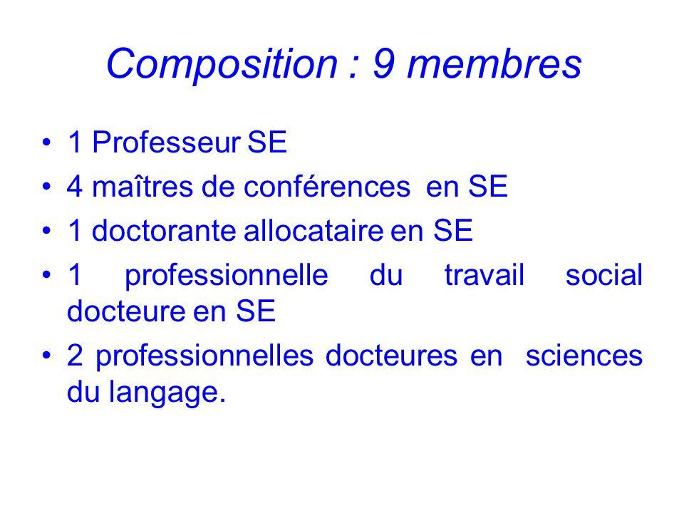 Composition : 9 membres 1 Professeur SE 4 maîtres de conférences en SE 1 doctorante allocataire en SE 1 professionnelle du travail social docteure en SE 2 professionnelles docteures en sciences du langage.