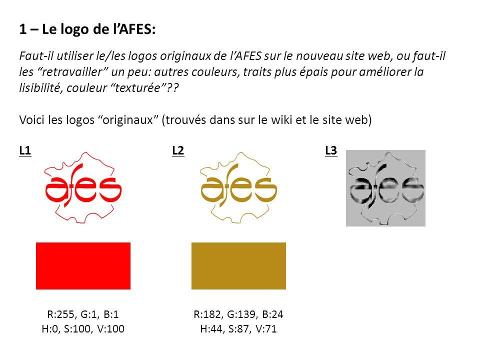 R:255, G:1, B:1 H:0, S:100, V:100 R:182, G:139, B:24 H:44, S:87, V:71 1 – Le logo de lAFES: Faut-il utiliser le/les logos originaux de lAFES sur le nouveau site web, ou faut-il les retravailler un peu: autres couleurs, traits plus épais pour améliorer la lisibilité, couleur texturée .