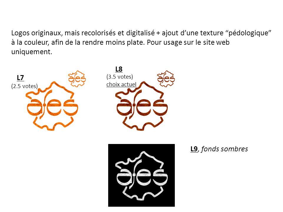 Logos originaux, mais recolorisés et digitalisé + ajout dune texture pédologique à la couleur, afin de la rendre moins plate.