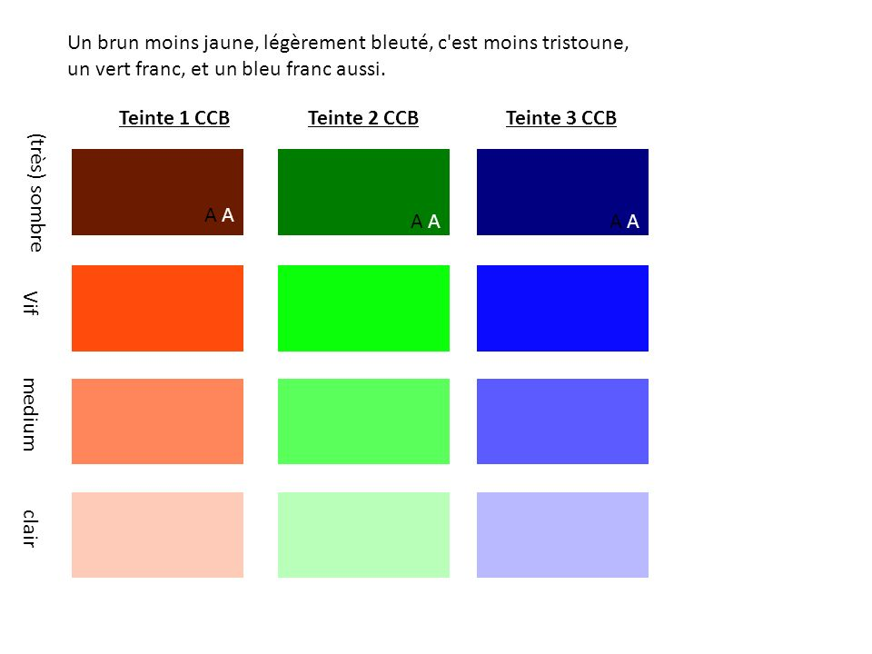 Teinte 1 CCBTeinte 2 CCBTeinte 3 CCB A (très) sombre Un brun moins jaune, légèrement bleuté, c est moins tristoune, un vert franc, et un bleu franc aussi.