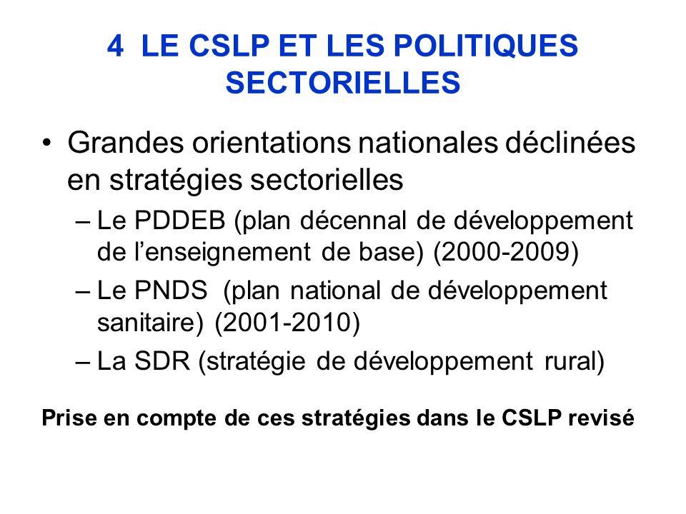 4 LE CSLP ET LES POLITIQUES SECTORIELLES Grandes orientations nationales déclinées en stratégies sectorielles –Le PDDEB (plan décennal de développement de lenseignement de base) (2000-2009) –Le PNDS (plan national de développement sanitaire) (2001-2010) –La SDR (stratégie de développement rural) Prise en compte de ces stratégies dans le CSLP revisé