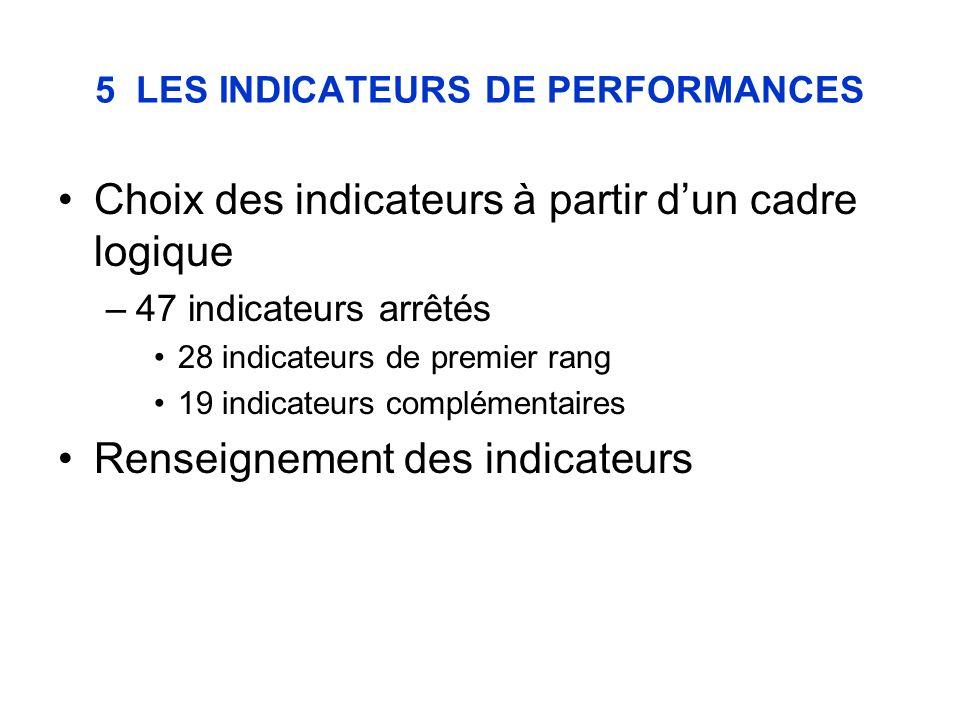 5 LES INDICATEURS DE PERFORMANCES Choix des indicateurs à partir dun cadre logique –47 indicateurs arrêtés 28 indicateurs de premier rang 19 indicateurs complémentaires Renseignement des indicateurs