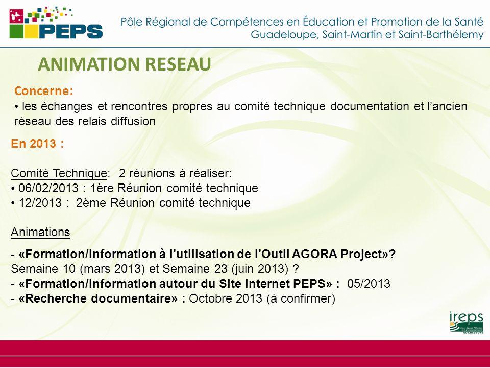 En 2013 : Comité Technique: 2 réunions à réaliser: 06/02/2013 : 1ère Réunion comité technique 12/2013 : 2ème Réunion comité technique Animations - «Formation/information à l utilisation de l Outil AGORA Project».