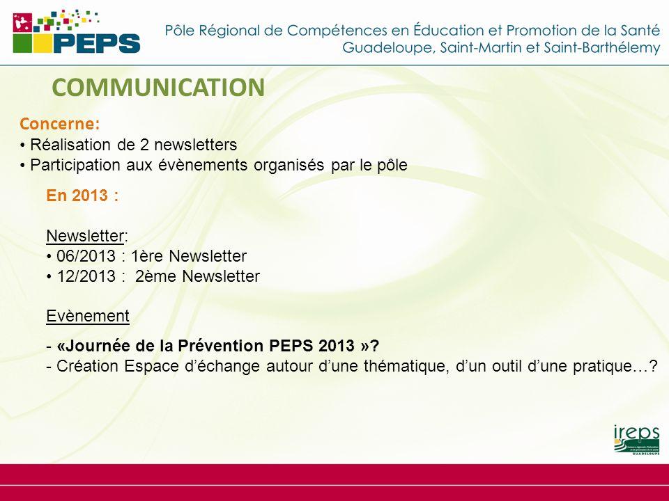 En 2013 : Newsletter: 06/2013 : 1ère Newsletter 12/2013 : 2ème Newsletter Evènement - «Journée de la Prévention PEPS 2013 ».