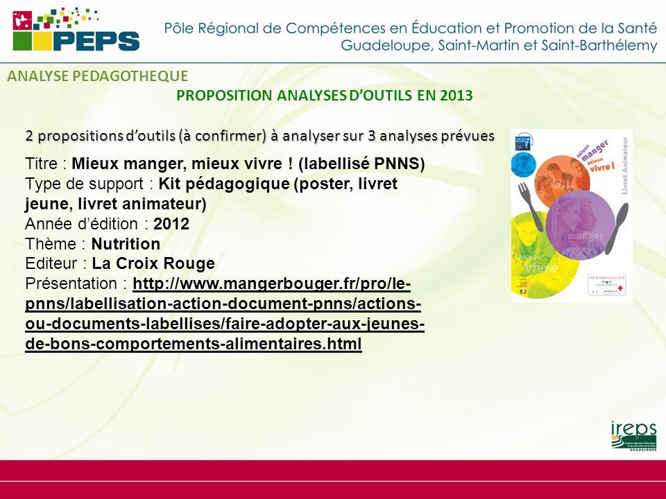 2 propositions doutils (à confirmer) à analyser sur 3 analyses prévues PROPOSITION ANALYSES DOUTILS EN 2013 Titre : Mieux manger, mieux vivre .