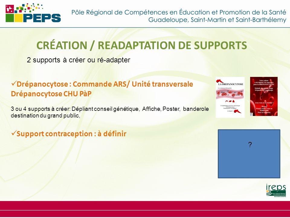 (2 par an) CRÉATION / READAPTATION DE SUPPORTS Drépanocytose : Commande ARS/ Unité transversale Drépanocytose CHU PàP 3 ou 4 supports à créer: Dépliant conseil génétique, Affiche, Poster, banderole destination du grand public, Support contraception : à définir 2 supports à créer ou ré-adapter ?