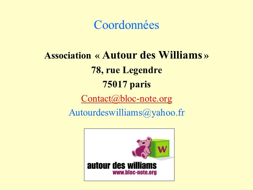 Coordonnées Association « Autour des Williams » 78, rue Legendre 75017 paris Contact@bloc-note.org Autourdeswilliams@yahoo.fr