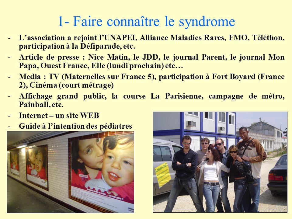 1- Faire connaître le syndrome -Lassociation a rejoint lUNAPEI, Alliance Maladies Rares, FMO, Téléthon, participation à la Défiparade, etc.