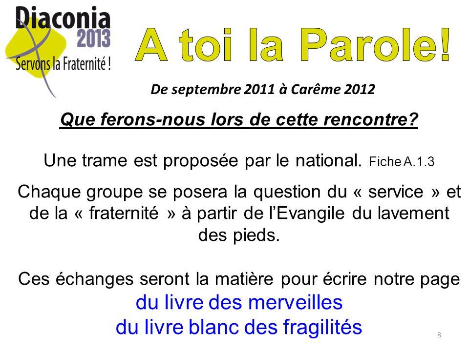 8 De septembre 2011 à Carême 2012 Que ferons-nous lors de cette rencontre? Une trame est proposée par le national. Fiche A.1.3 Chaque groupe se posera