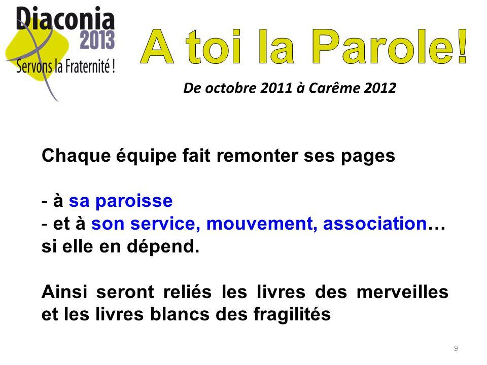 9 De octobre 2011 à Carême 2012 Chaque équipe fait remonter ses pages - à sa paroisse - et à son service, mouvement, association… si elle en dépend.
