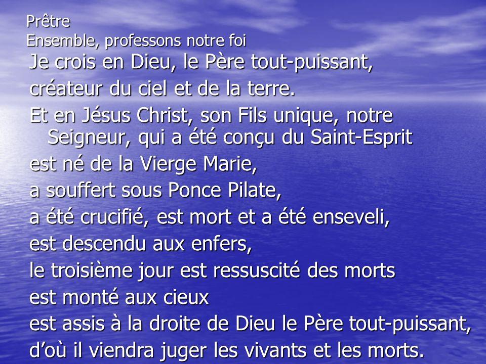 Je crois en lEsprit Saint, à la sainte Église Catholique, à la communion des saints, à la rémission des péchés, à la résurrection de la chair, à la vie éternelle.