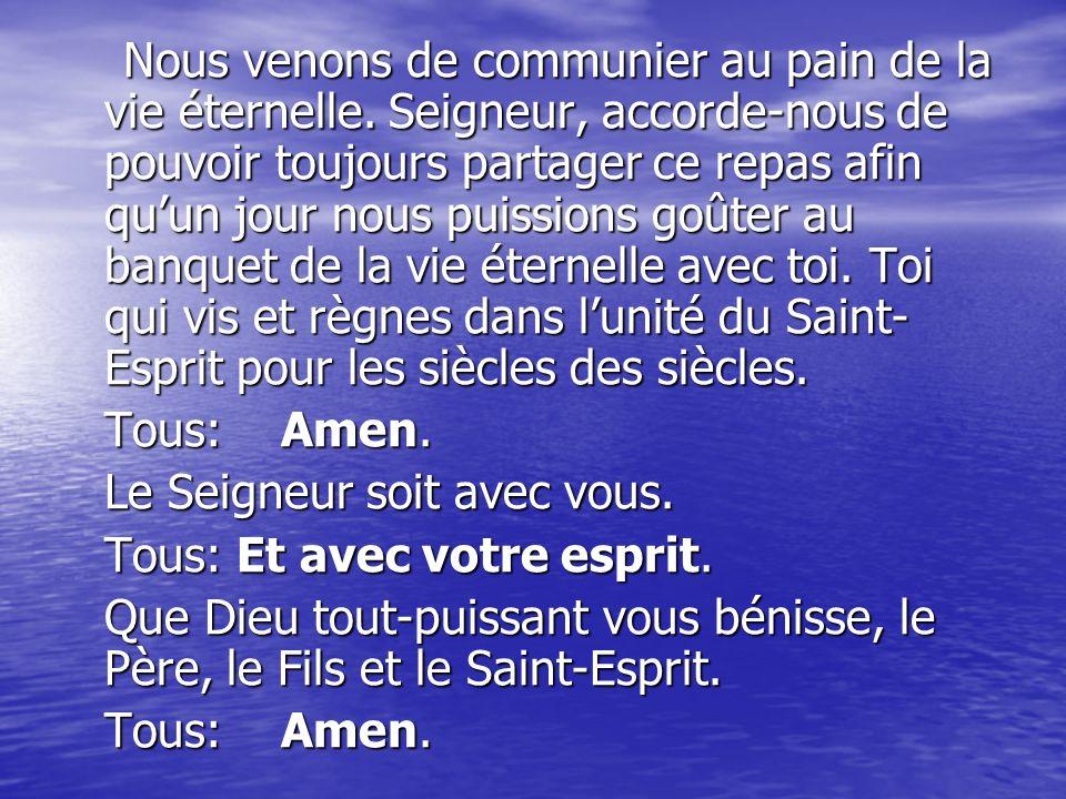 Allez dans la paix du Christ, alléluia, alléluia.