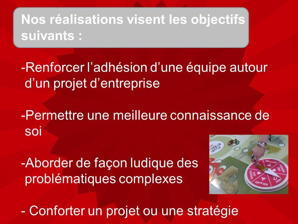 Nos réalisations visent les objectifs suivants : -Renforcer ladhésion dune équipe autour dun projet dentreprise -Permettre une meilleure connaissance de soi -Aborder de façon ludique des problématiques complexes - Conforter un projet ou une stratégie