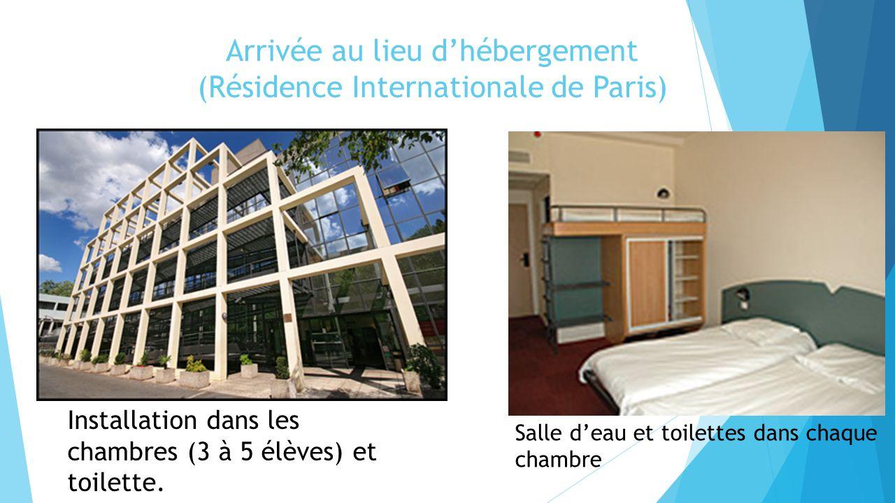 Arrivée au lieu dhébergement (Résidence Internationale de Paris) Installation dans les chambres (3 à 5 élèves) et toilette. Salle deau et toilettes da