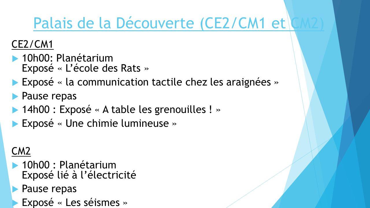 Palais de la Découverte (CE2/CM1 et CM2) CE2/CM1 10h00: Planétarium Exposé « Lécole des Rats » Exposé « la communication tactile chez les araignées »