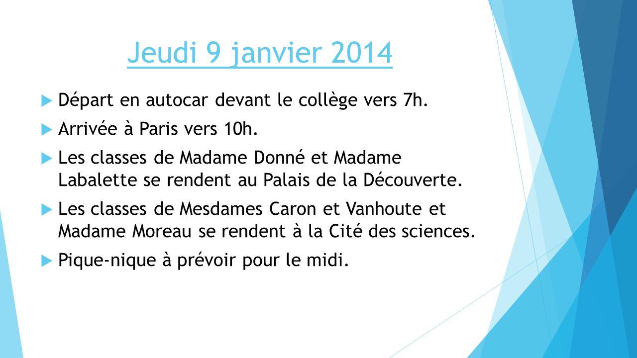 Jeudi 9 janvier 2014 Départ en autocar devant le collège vers 7h. Arrivée à Paris vers 10h. Les classes de Madame Donné et Madame Labalette se rendent