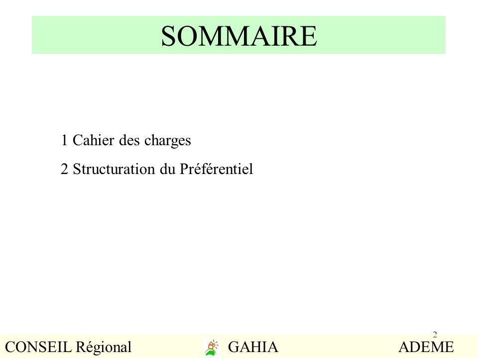 2 SOMMAIRE 1 Cahier des charges 2 Structuration du Préférentiel CONSEIL Régional GAHIA ADEME