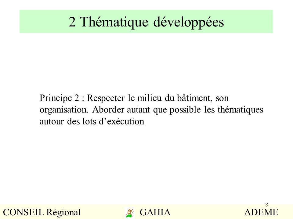 8 2 Thématique développées Principe 2 : Respecter le milieu du bâtiment, son organisation. Aborder autant que possible les thématiques autour des lots