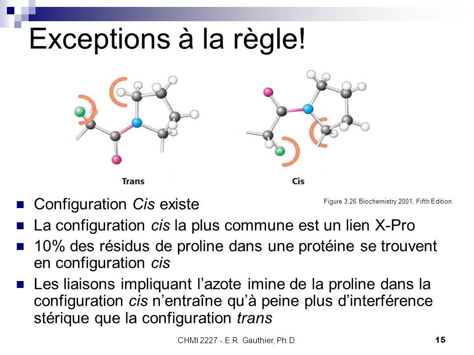 CHMI 2227 - E.R. Gauthier, Ph.D.15 Exceptions à la règle! Configuration Cis existe La configuration cis la plus commune est un lien X-Pro 10% des rési