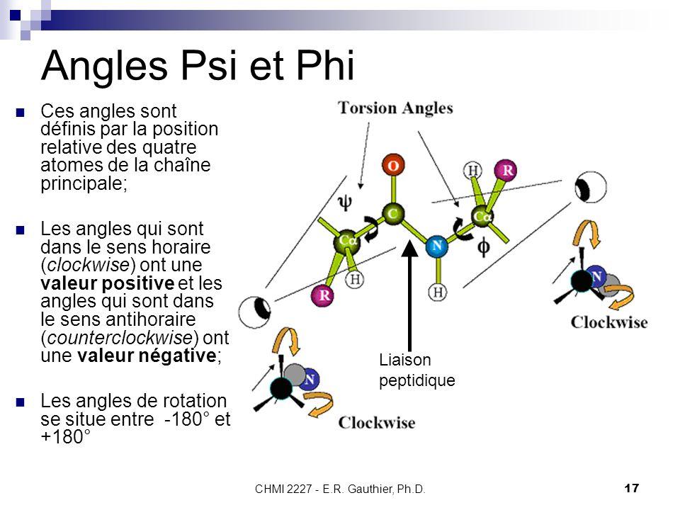 CHMI 2227 - E.R. Gauthier, Ph.D.17 Angles Psi et Phi Ces angles sont définis par la position relative des quatre atomes de la chaîne principale; Les a