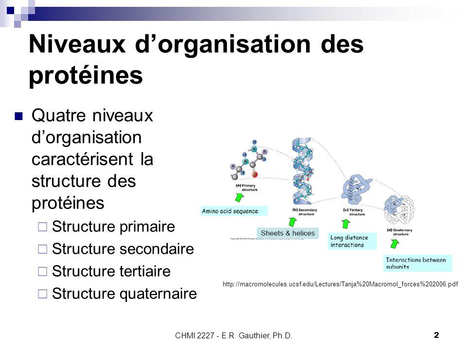 CHMI 2227 - E.R. Gauthier, Ph.D.2 Niveaux dorganisation des protéines Quatre niveaux dorganisation caractérisent la structure des protéines Structure