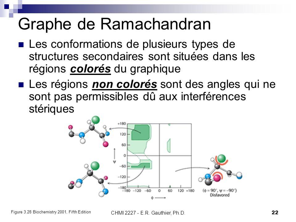 CHMI 2227 - E.R. Gauthier, Ph.D.22 Graphe de Ramachandran Les conformations de plusieurs types de structures secondaires sont situées dans les régions