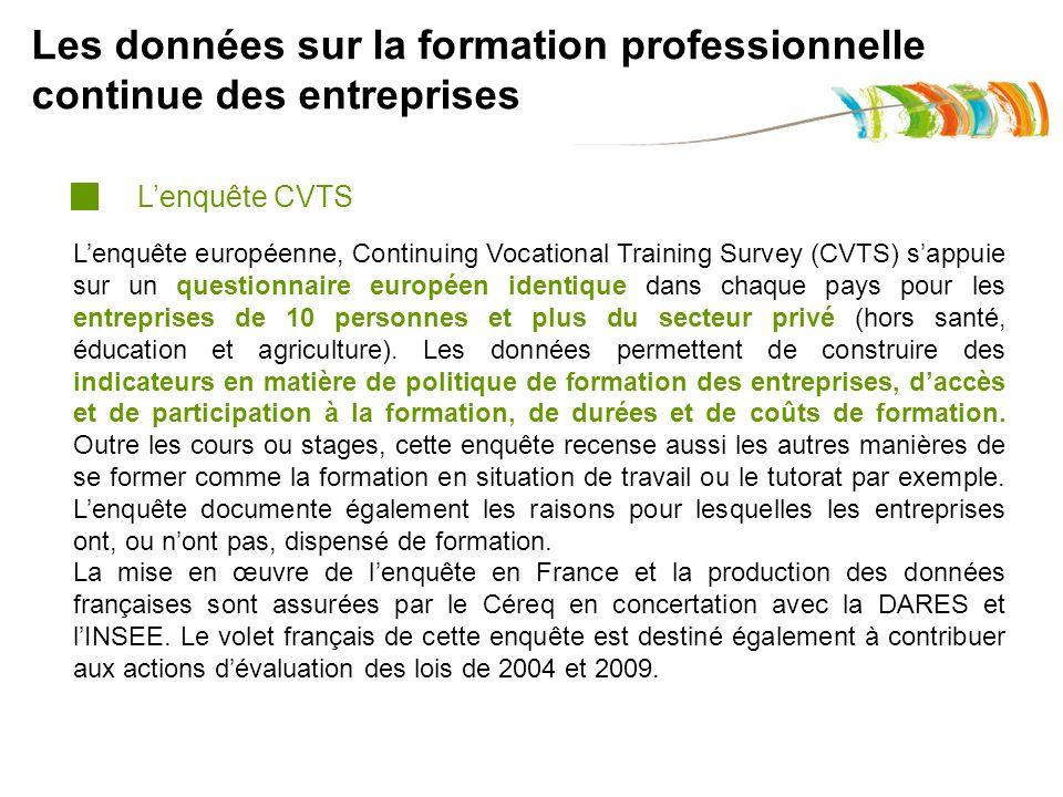 Les données sur la formation professionnelle continue des entreprises Lenquête européenne, Continuing Vocational Training Survey (CVTS) sappuie sur un questionnaire européen identique dans chaque pays pour les entreprises de 10 personnes et plus du secteur privé (hors santé, éducation et agriculture).