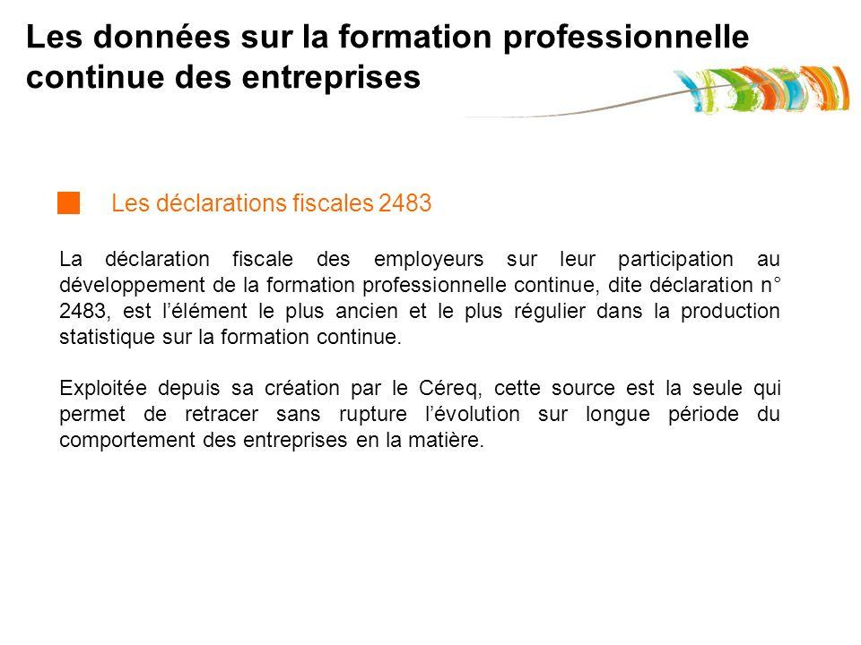 Les données sur la formation professionnelle continue des entreprises La déclaration fiscale des employeurs sur leur participation au développement de