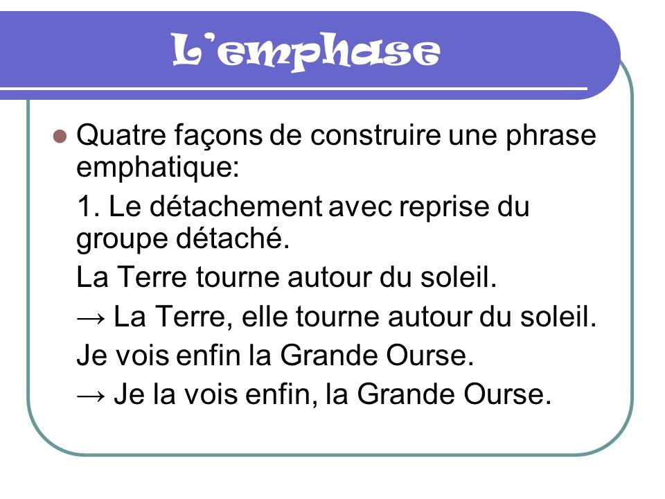 Lemphase Quatre façons de construire une phrase emphatique: 1.
