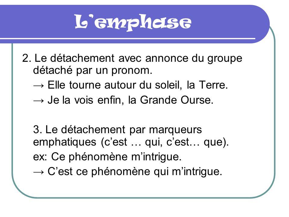 Lemphase 2.Le détachement avec annonce du groupe détaché par un pronom.