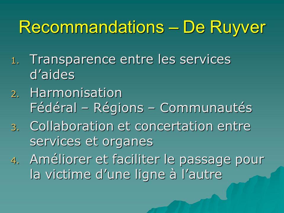 Recommandations – De Ruyver 1.Transparence entre les services daides 2.