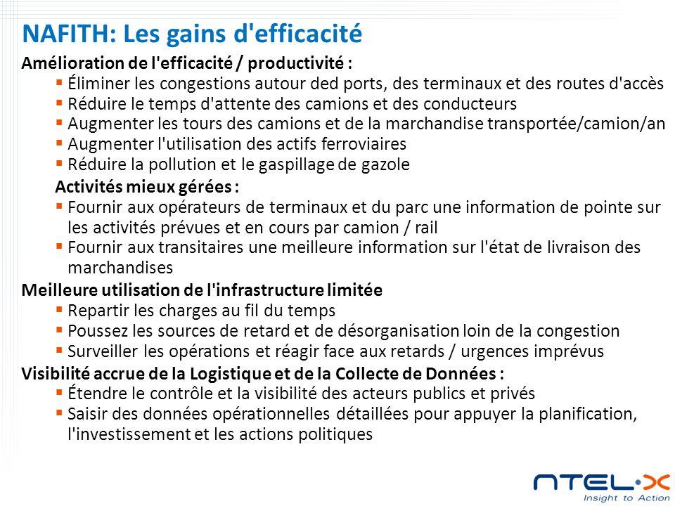NAFITH: Les gains d efficacité Amélioration de l efficacité / productivité : Éliminer les congestions autour ded ports, des terminaux et des routes d accès Réduire le temps d attente des camions et des conducteurs Augmenter les tours des camions et de la marchandise transportée/camion/an Augmenter l utilisation des actifs ferroviaires Réduire la pollution et le gaspillage de gazole Activités mieux gérées : Fournir aux opérateurs de terminaux et du parc une information de pointe sur les activités prévues et en cours par camion / rail Fournir aux transitaires une meilleure information sur l état de livraison des marchandises Meilleure utilisation de l infrastructure limitée Repartir les charges au fil du temps Poussez les sources de retard et de désorganisation loin de la congestion Surveiller les opérations et réagir face aux retards / urgences imprévus Visibilité accrue de la Logistique et de la Collecte de Données : Étendre le contrôle et la visibilité des acteurs publics et privés Saisir des données opérationnelles détaillées pour appuyer la planification, l investissement et les actions politiques