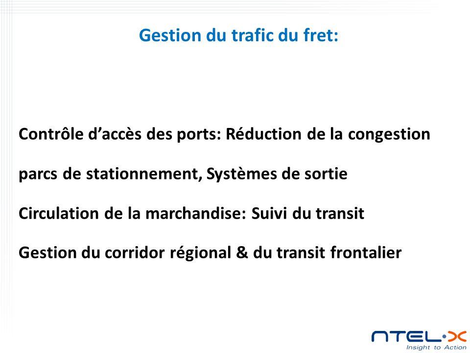 Contrôle daccès des ports: Réduction de la congestion parcs de stationnement, Systèmes de sortie Circulation de la marchandise: Suivi du transit Gestion du corridor régional & du transit frontalier Gestion du trafic du fret: