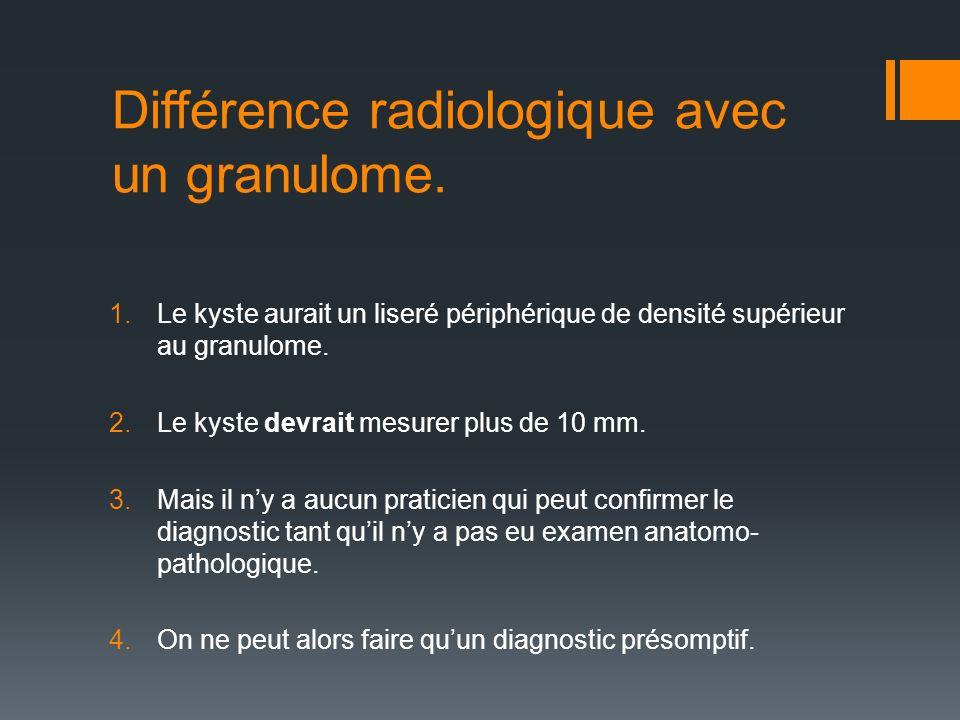 Différence radiologique avec un granulome. 1.Le kyste aurait un liseré périphérique de densité supérieur au granulome. 2.Le kyste devrait mesurer plus