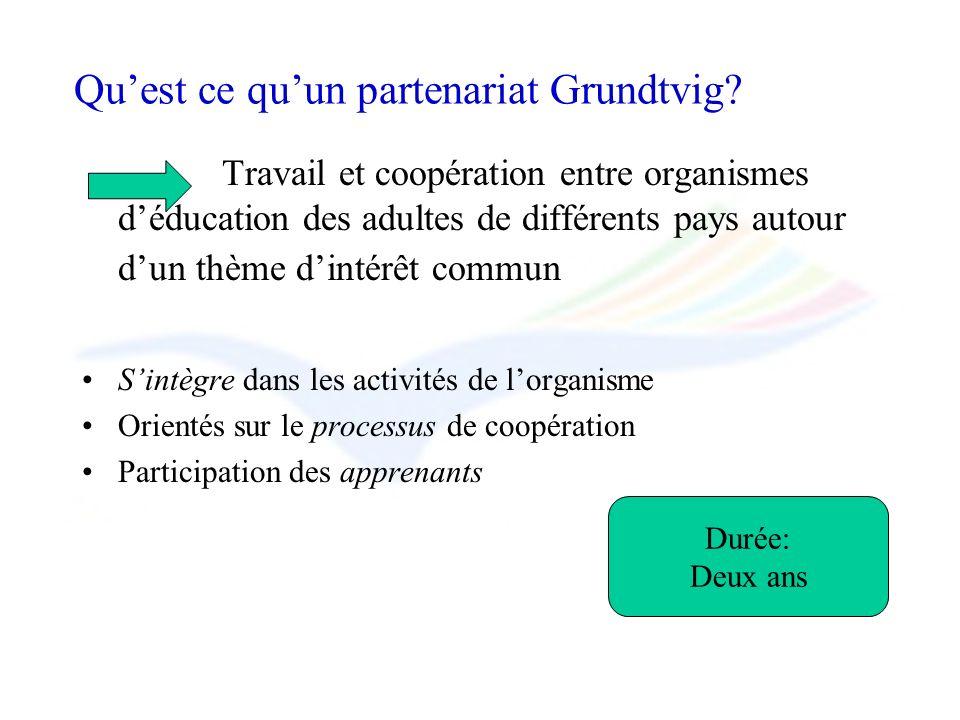 Quest ce quun partenariat Grundtvig? Travail et coopération entre organismes déducation des adultes de différents pays autour dun thème dintérêt commu
