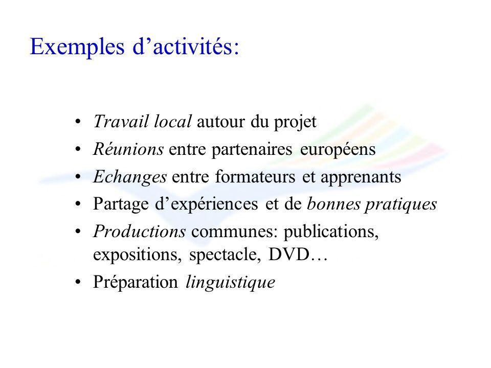 Exemples dactivités: Travail local autour du projet Réunions entre partenaires européens Echanges entre formateurs et apprenants Partage dexpériences