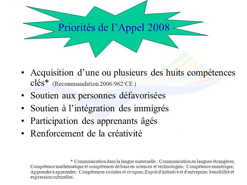 Acquisition dune ou plusieurs des huits compétences clés* (Recommandation 2006/962/CE ) Soutien aux personnes défavorisées Soutien à lintégration des