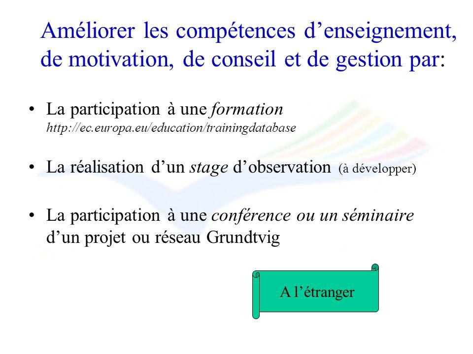 Améliorer les compétences denseignement, de motivation, de conseil et de gestion par: La participation à une formation http://ec.europa.eu/education/t