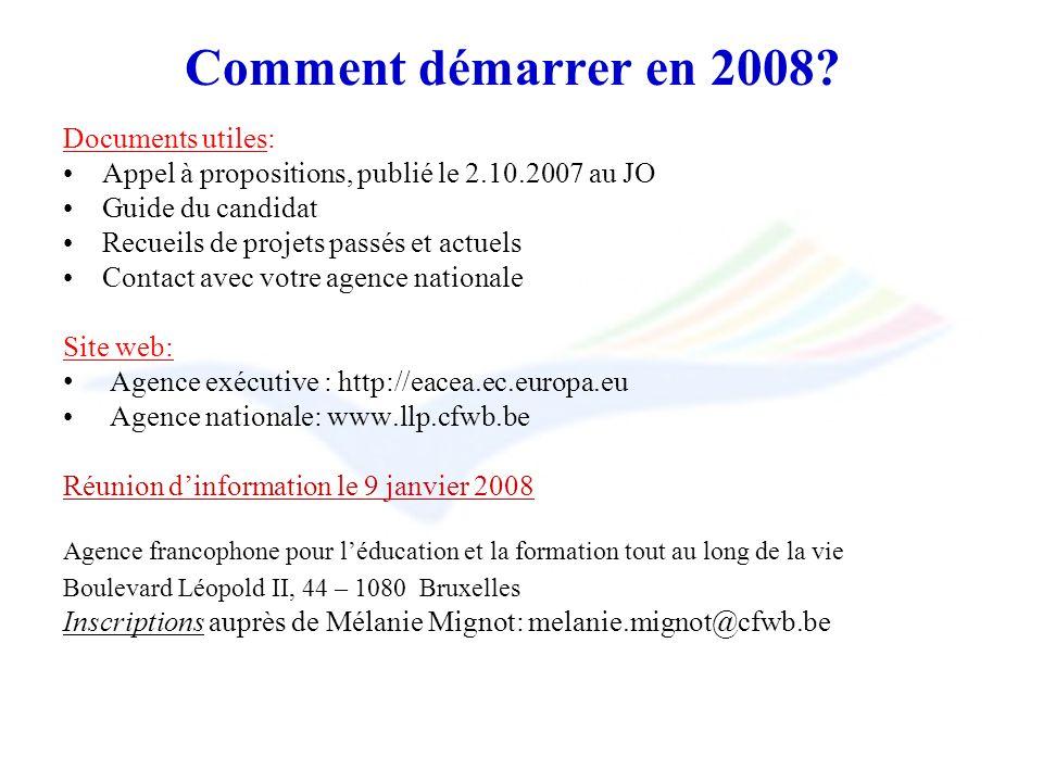Comment démarrer en 2008? Documents utiles: Appel à propositions, publié le 2.10.2007 au JO Guide du candidat Recueils de projets passés et actuels Co