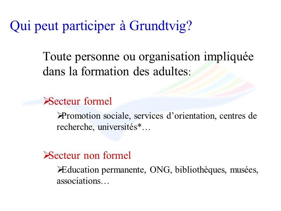 Qui peut participer à Grundtvig? Toute personne ou organisation impliquée dans la formation des adultes : Secteur formel Promotion sociale, services d